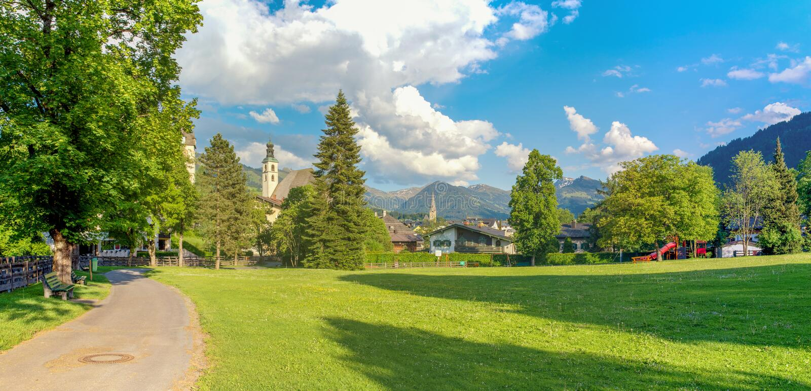 Panorama of Kitzbuhel, a typical city in Tirol Alps royalty free stock photo