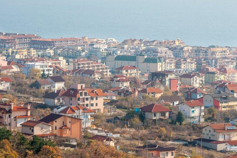 Panorama KK Saint Vlas in Bulgaria, winter royalty free stock photo