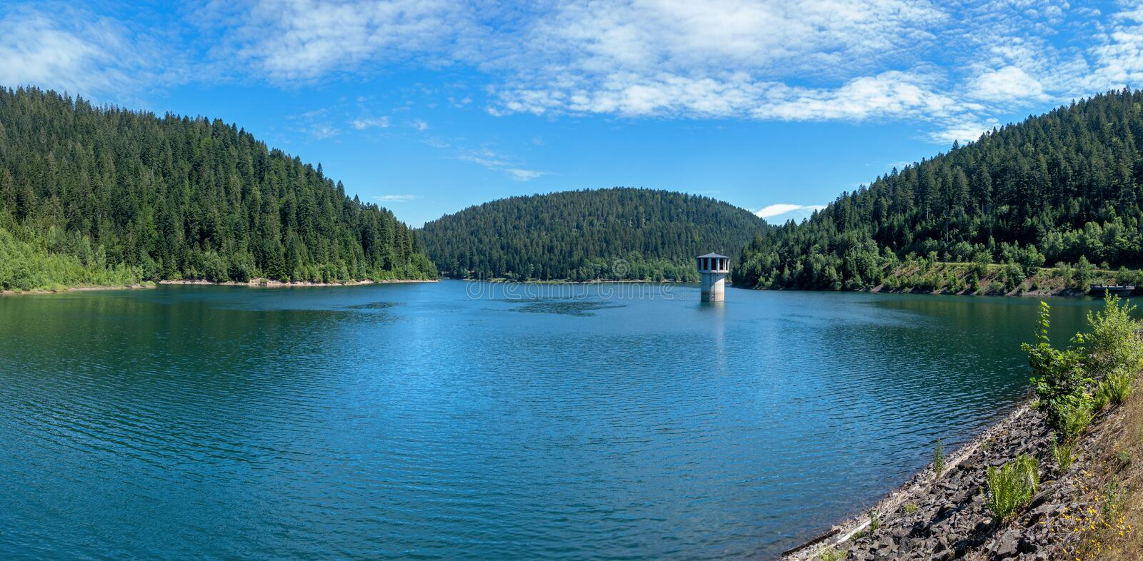 Panorama of the Kleine Kinzig Dam in the Black Forest, Germany stock image