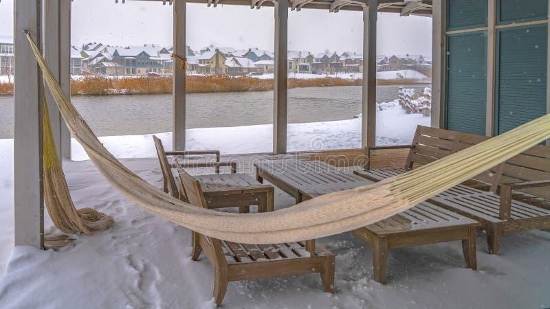Panorama klub przegapia Oquirrh jezioro w zima dniu obraz royalty free