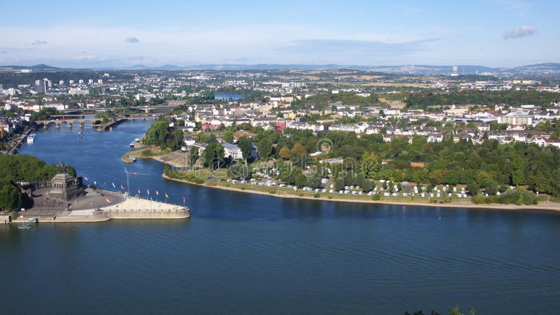 Panorama of Koblenz royalty free stock photos