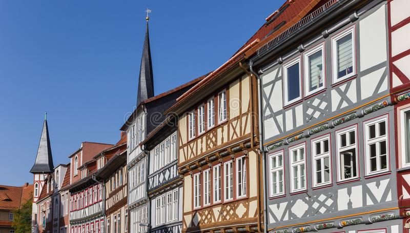 Panorama kolorowi ryglowi domy w Duderstadt zdjęcia stock