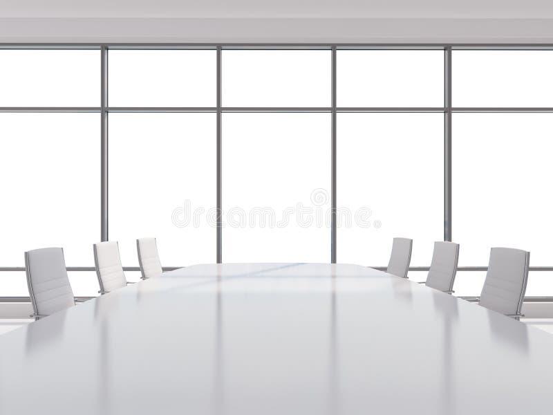 Panorama- konferensrum i modernt kontor, kopieringsutrymmesikt från fönstren stolar för vitt läder och en vit tabell framförande  vektor illustrationer