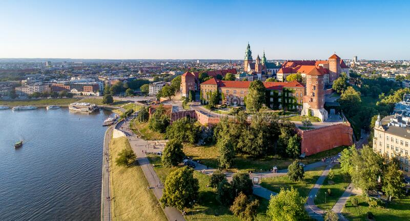 Panorama of Krakow, Poland, Wawel castle and Vistula river royalty free stock photos