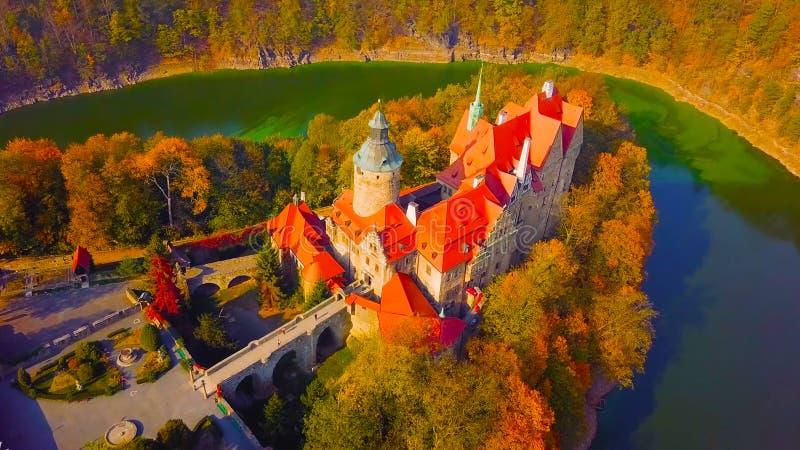Panorama Krakowski, Polska, z królewskim Wawel kasztelem, Vistula rzeka w jesieni Widok z lotu ptaka przy zmierzchem 2019 zdjęcia stock