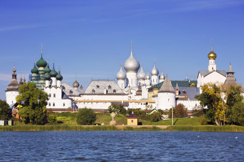 Panorama Kremlin of Rostov the Great, view from the lake Nero. Russia stock photos