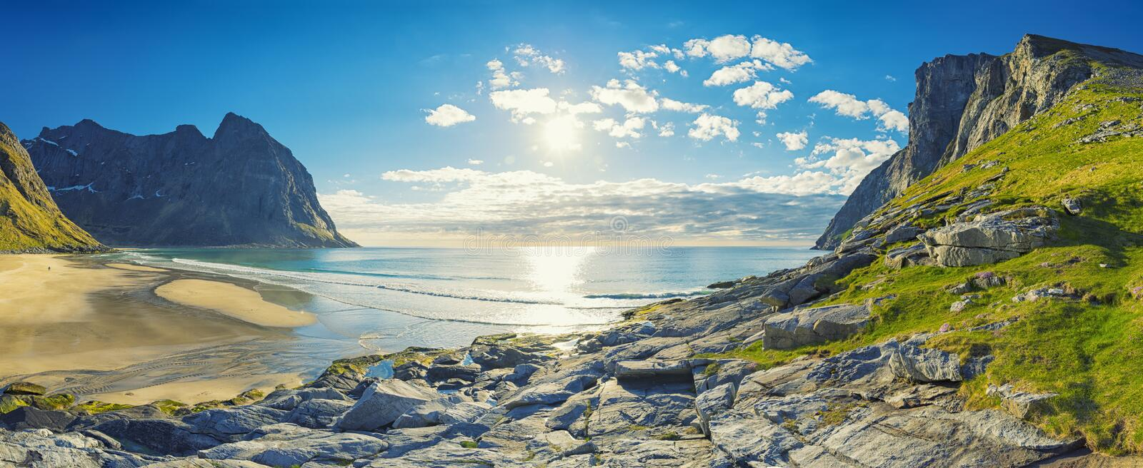 Kvalvika Beach on the Lofoten Islands, Norway royalty free stock images