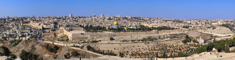 Panorama la ciudad vieja Jerusalén fotografía de archivo