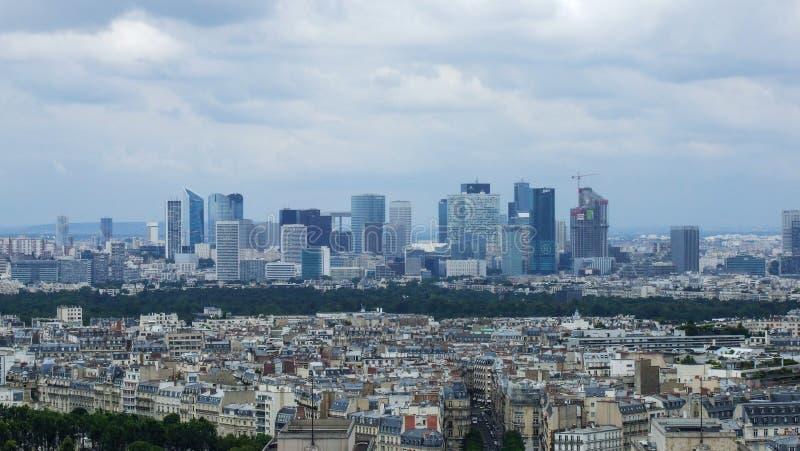Panorama of La Defense district in Paris stock image