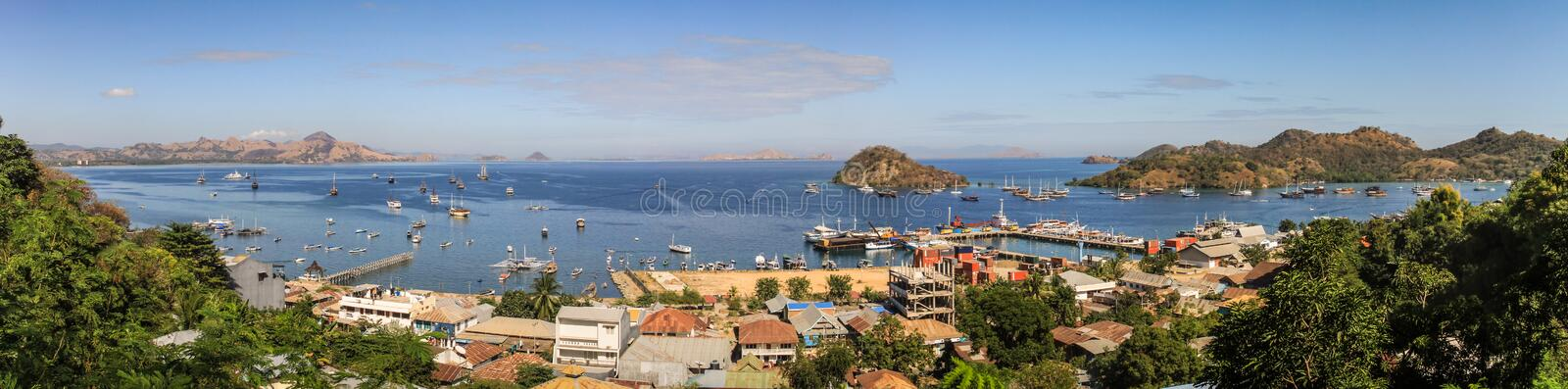 Panorama on Labuan Bajo Bay on a glorious day, Nusa Tenggara, flores island, Indonesia. Labuan Bajo is a fishing town located at the western end of Flores in the stock image
