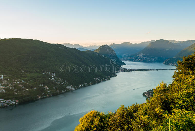 Panorama Of Lago Di Lugano Stock Photography