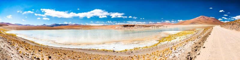 Panorama of Laguna Chalviri in Bolivia. Panorama of Laguna Chalviri in a sun day in Bolivia royalty free stock image