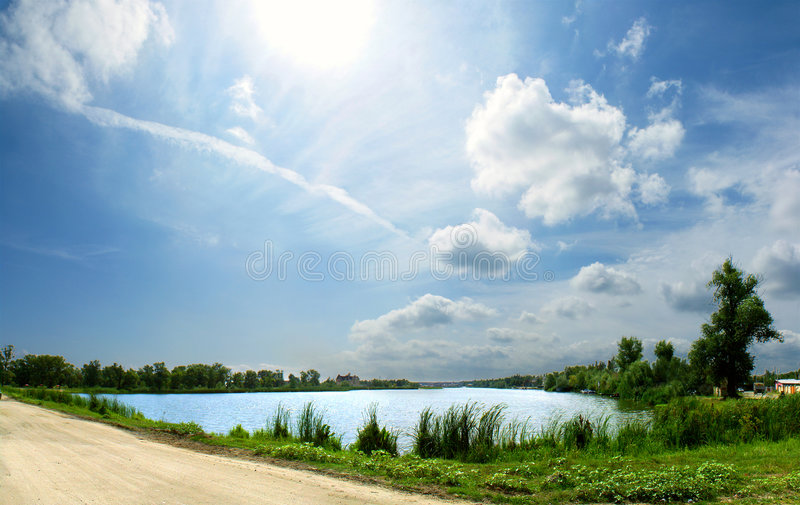 Download Panorama of the lake stock photo. Image of summer, horizon - 3321936