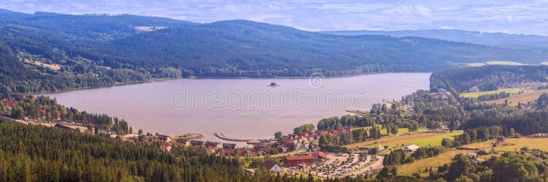 Panorama of Lake Lipno in south Bohemia,. 200 km south of Prague, Czech Republic, Europe, aerial view royalty free stock image