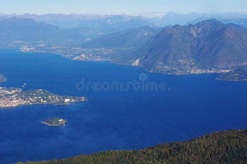 Panorama Of Lake Maggiore And Isola Madre Island , Italy Stock Photos
