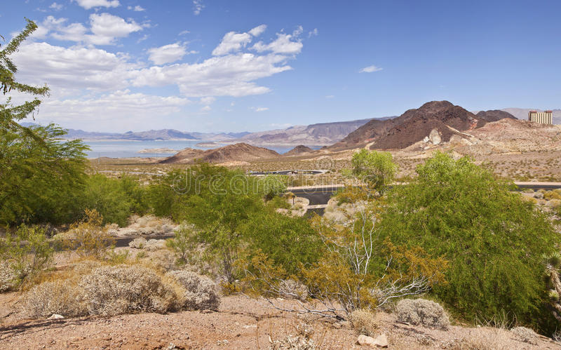 A panorama of Lake Meade and surrounding landscape Nevada. Lake Meade panorama of the surrounding landscape near Hoover Dam Nevada stock photography