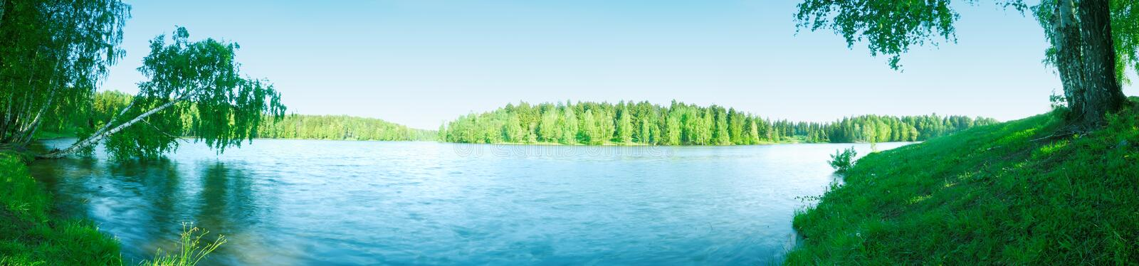 Panorama of lake with wood. Summer landscape with a kind on the big lake and dense wood on distant coast stock photography