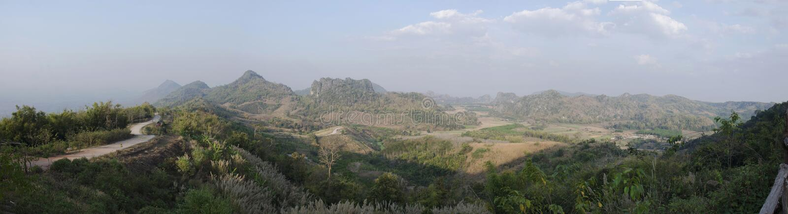 Panorama landccape and view of Phu Pa Po mountain or Fuji City Loei royalty free stock image