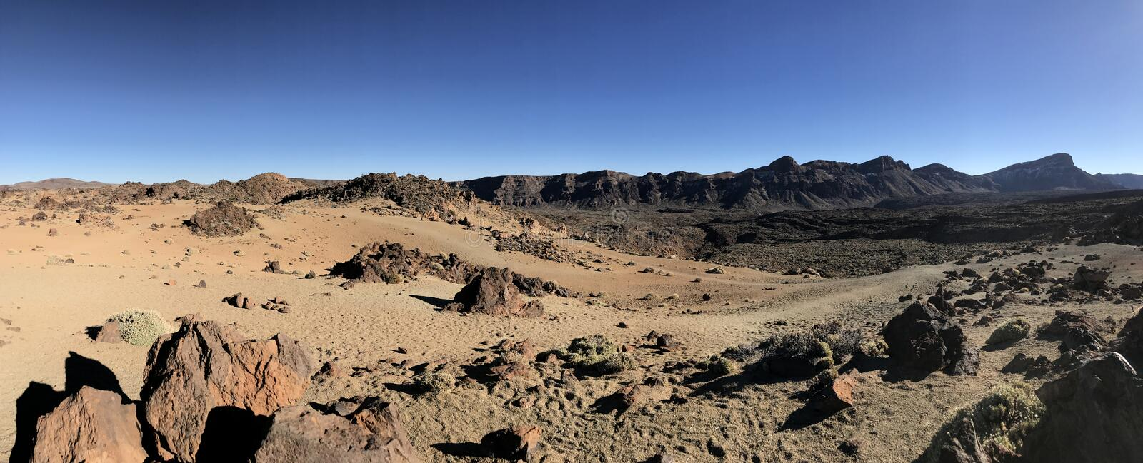 Panorama landscape around Mount Teide. A volcano on Tenerife in the Canary Islands stock photos