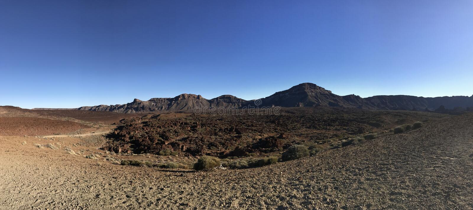 Panorama from the landscape around Mount Teide. A volcano on Tenerife in the Canary Islands royalty free stock photos