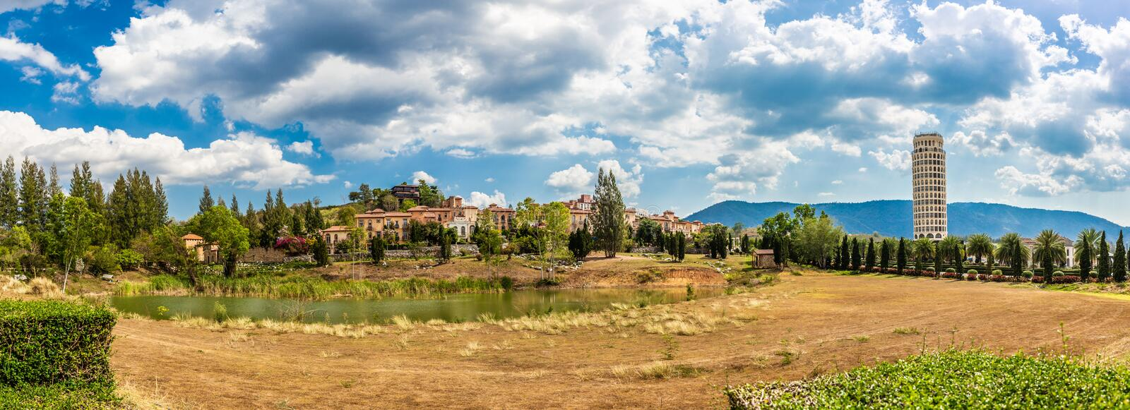 Panorama landscape of Beautiful typical romantic vintage Italian style house and building in village and mountain royalty free stock photos