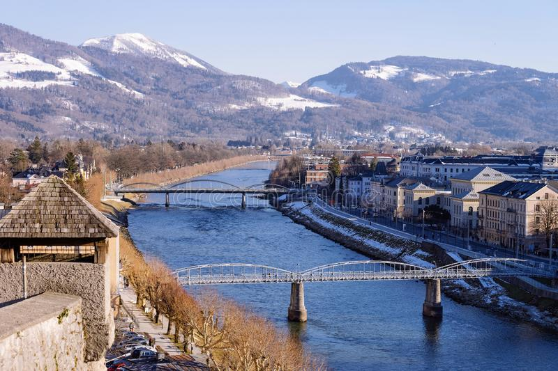 Panorama with Landscape and bridges of Old city in Salzburg stock photography