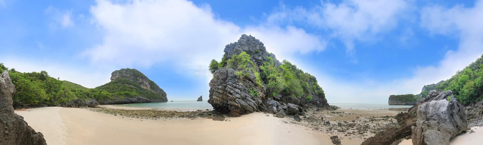 Panorama landscape of Island and sand beach at Songpeenong Beach Ko Paluai ,Mu Ko Ang Thong National park royalty free stock images