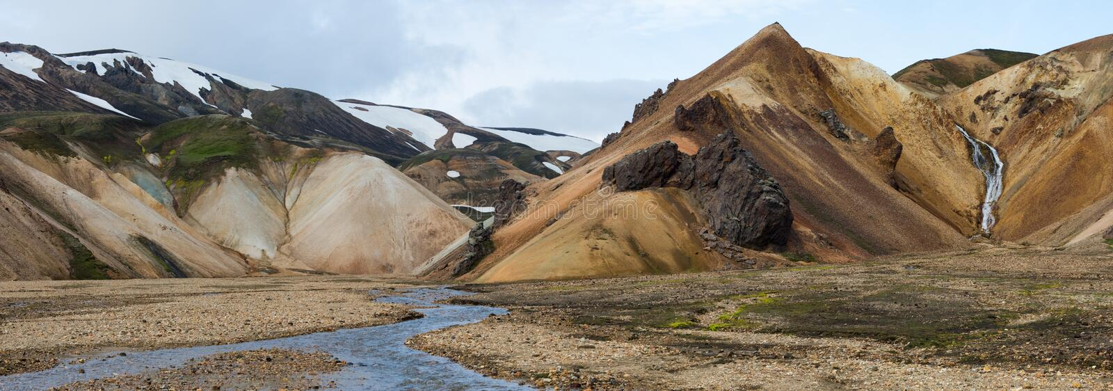 Panorama of landscape of Landmannalaugar royalty free stock photo