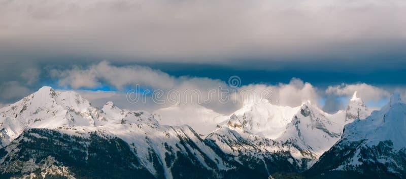 Panorama landscape mountain alps winter horizontal background stock photo