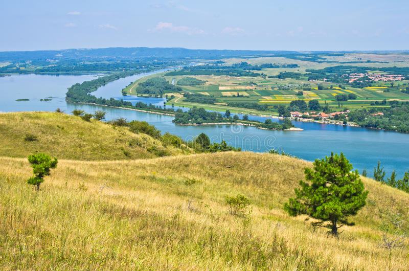 Panorama and landscape near Danube river stock photos