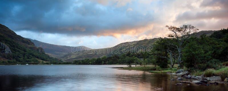 Panorama Landscape Stunning Sunrise Over Lake Stock Photo