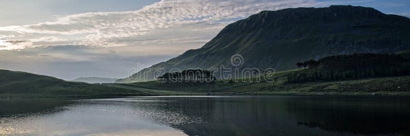 Panorama Landscape Sunrise Over Lake Mountain Stock Photo