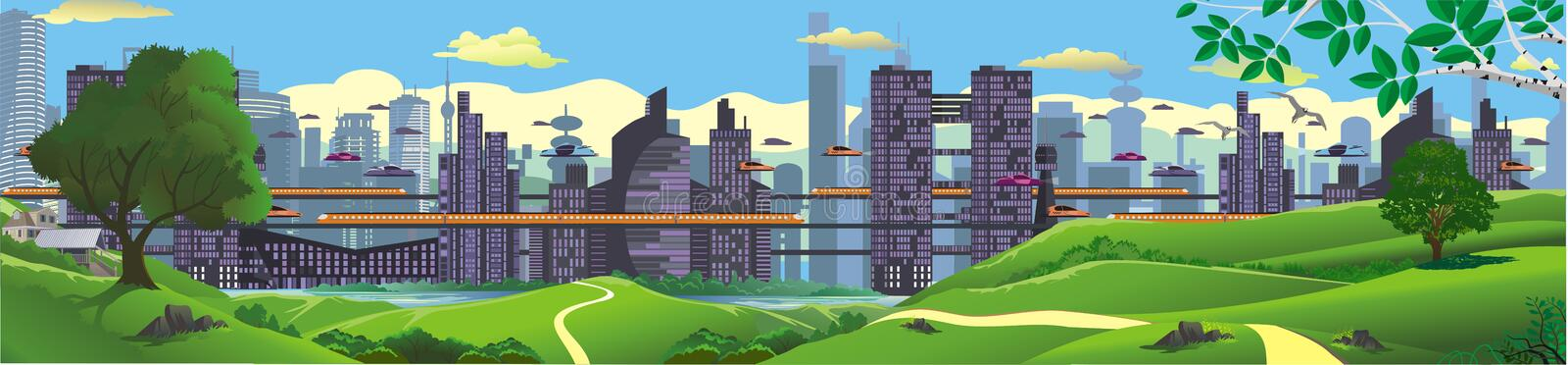 Panorama - landscape. The view from the hilltop to the metropolis of the future. royalty free illustration