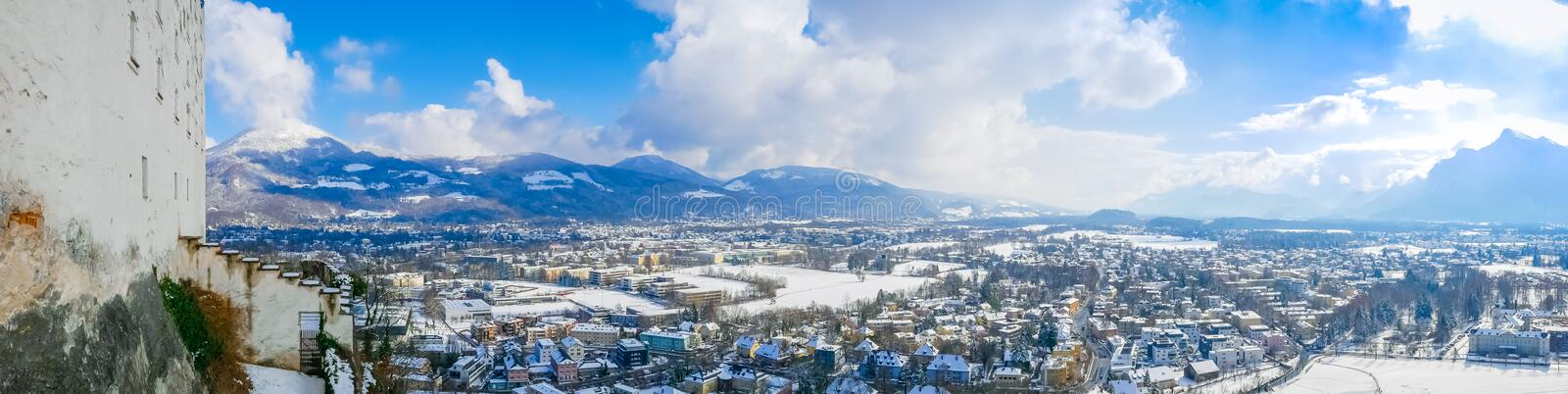 Panorama landscape view salzburg austria moutain blue sky city royalty free stock photos
