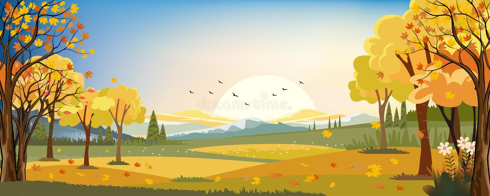 Panorama landscapes of Autumn farm field with maple leaves falling from trees, Fall season in evening stock illustration