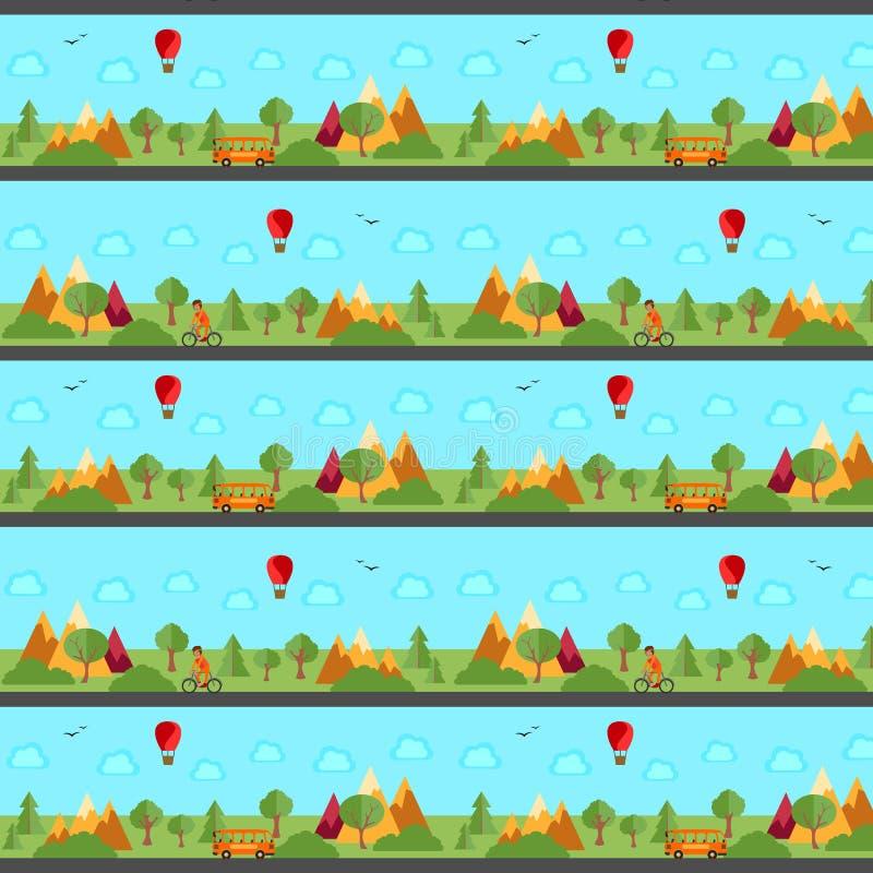 Panorama, Landschaftsnahtloses Muster Eine Zahl mit unendlich wiederholten Schritten Auch im corel abgehobenen Betrag lizenzfreie abbildung