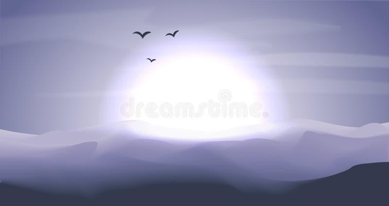 Panorama- landskap för tom öken med dyn och solnedgång, solnedgång i blått och gråa färger, skymningzon, nattetid stillhet royaltyfri illustrationer