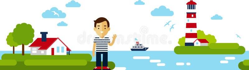 Panorama- landskapbakgrund för hav med fyren i plan stil royaltyfri illustrationer