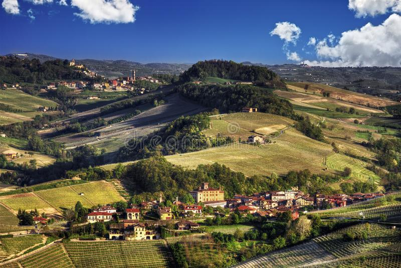 Panorama of the Langhe - Barolo and Monforte d`Alba royalty free stock photo