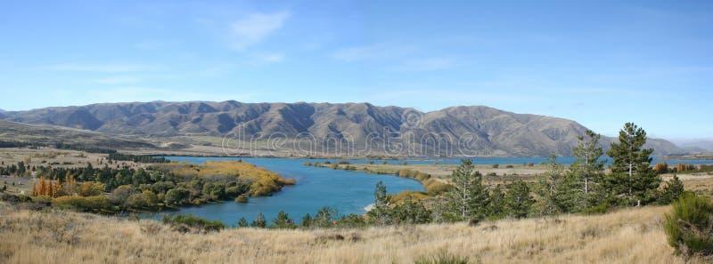Panorama - langs de weg aan MT Cook, Nieuw Zeeland stock foto's