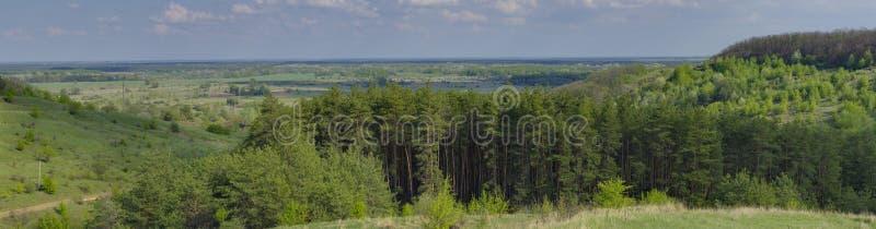 Panorama- lanscape nära den Poltava staden, Ukraina arkivfoton