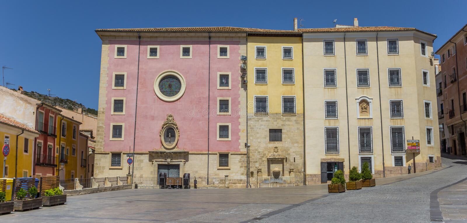 Panorama of Las Petras convent on the central square of Cuenca stock image