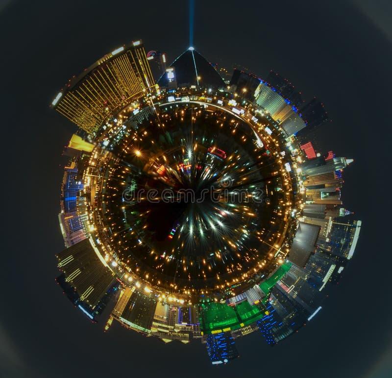 Panorama- Las Vegas remsacityscape på natten royaltyfri foto