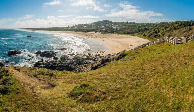 Panorama latarni morskiej plaża w Portowym Macquarie w lecie zdjęcia stock