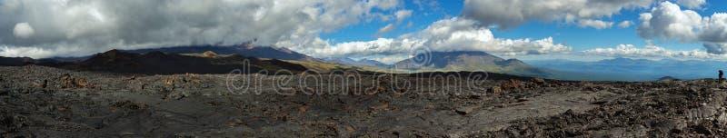 Panorama of lava field volcanic eruption active Plosky Tolbachik Volcano, Klyuchevskaya Group of Volcanoes. Panorama of lava field of volcanic eruption active royalty free stock image