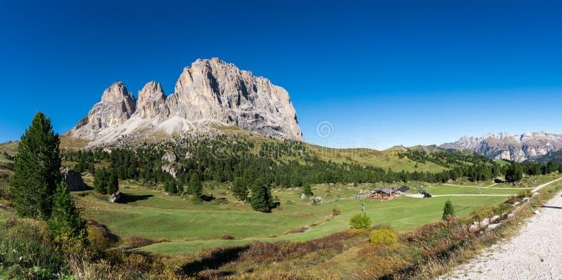 Panorama le Tirol du sud Italie de dolomites de Langkofel images libres de droits