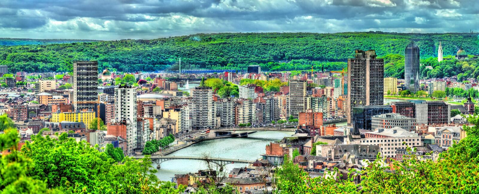 Panorama of Liege, a city on the banks of the Meuse river in Belgium stock image