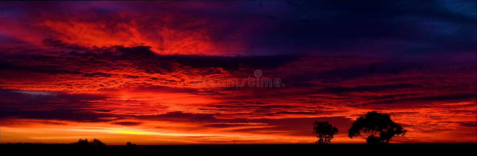 Panorama of Lightening Ridge sunrise royalty free stock image