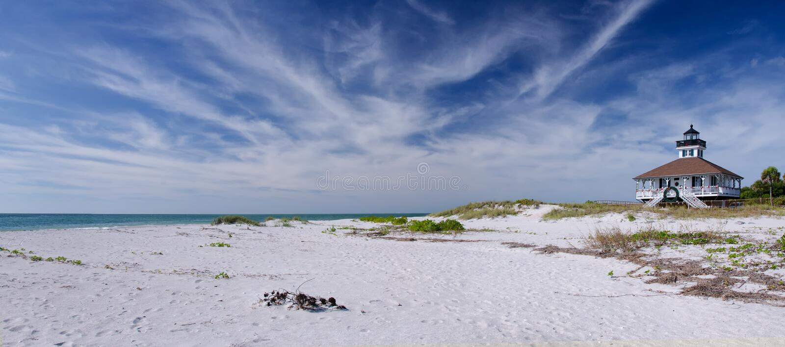 Panorama of a lighthouse on Florida's west coast stock photography