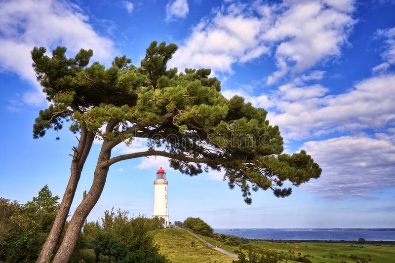 Panorama from the lighthouse under tree on the island Hiddensee with a view of the Baltic Sea, Germany. Blue, building, background, clouds, dornbusch, coast royalty free stock photos